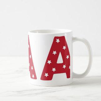 Taza De Café Letra A - Estrellas del blanco en rojo oscuro
