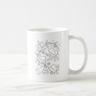 Taza De Café Línea diseño de rama de la pera del arte