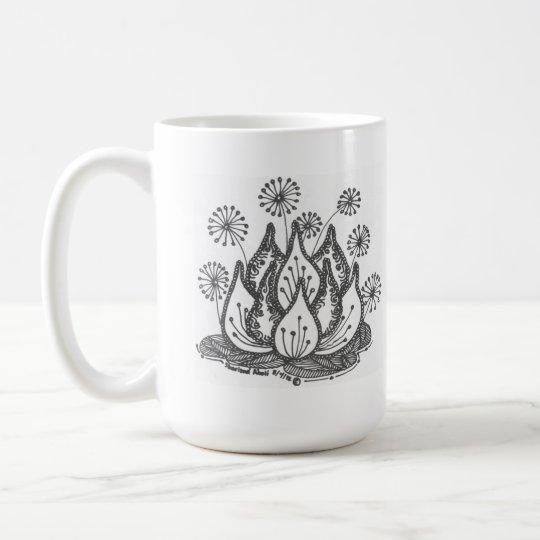Taza De Café Lirio de charca del fuego artificial