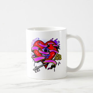Taza De Café Llave a mi arte del tatuaje del corazón