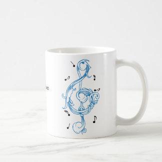 Taza De Café Llave azul de la nota del solenoide del scrollwork