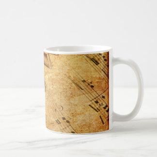 Taza De Café Llaves del piano de la hoja de música del Grunge
