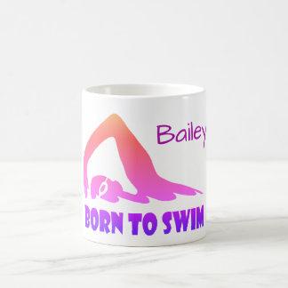 Taza De Café Llevado nadar, nadador del estilo libre,