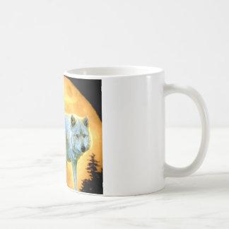 Taza De Café lobo de la Luna Llena del claro de luna del bosque