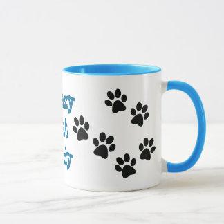 Taza de café loca de señora Pawprints Design del