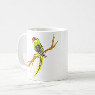 Taza De Café Loro en una rama. Pintura de la acuarela