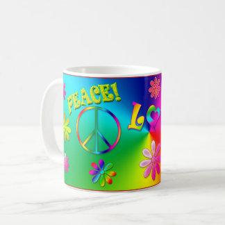 Taza De Café Los años 60 del Hippie asaltan - las flores/las