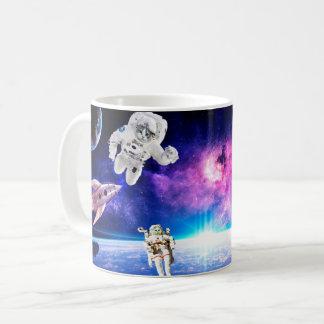 Taza De Café Los gatos del astronauta en espacio persiguieron