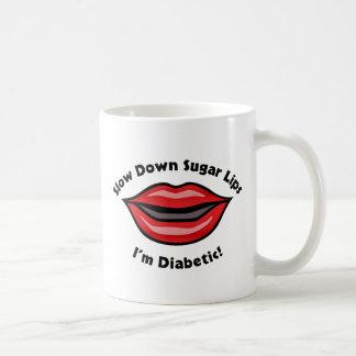 Taza De Café Los labios del azúcar del retraso, soy diabético