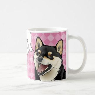 Taza De Café Los perros japoneses de Shiba Inu del negro y del