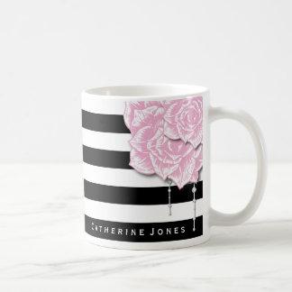 Taza De Café Los rosas y las rayas rosados personalizaron la