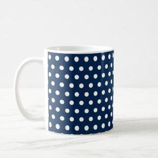 Taza De Café Lunares lindos de los azules marinos y del blanco