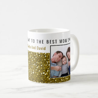 Taza De Café Mamá de la foto del purpurina del oro la mejor