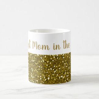 Taza De Café Mamá del purpurina del oro la mejor en el mundo