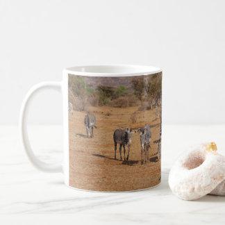 Taza De Café Manada del paisaje africano panorámico de la cebra