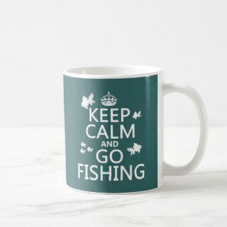 Taza De Café Mantenga tranquilo y vaya a pescar