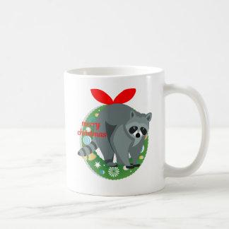 Taza De Café mapache de las Felices Navidad