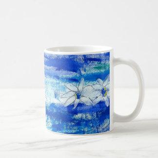 Taza De Café Margaritas en azul y blanco