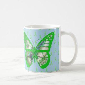 Taza De Café Mariposa azul y verde de la conciencia de la