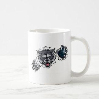 Taza De Café Mascota de los bolos del lobo que rompe el fondo