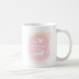 """Taza De Café """"Mi corazón pertenece caligrafía rosada de mis"""