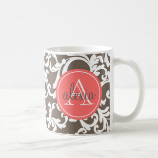 Taza De Café Moca e impresión con monograma coralina del