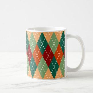 Taza De Café Modelo anaranjado rojo verde de Argyle