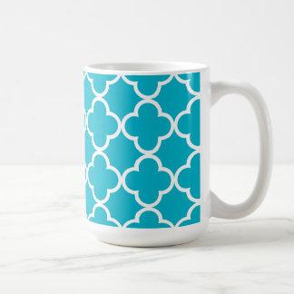 Taza De Café Modelo blanco azul del marroquí de Quatrefoil del