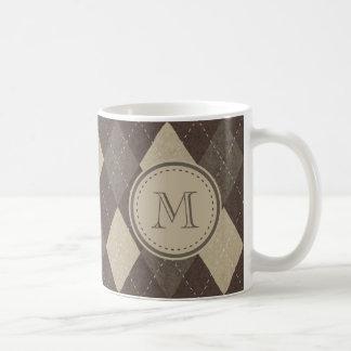 Taza De Café Modelo de Chocca Brown Argyle de la moca con el