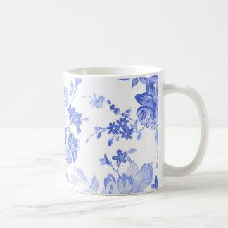 Taza De Café Modelo de flores azules y blancas