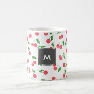 Taza De Café modelo dibujado mano linda de la cereza de la