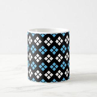 Taza De Café Modelo elegante de Argyle del azul y del blanco de