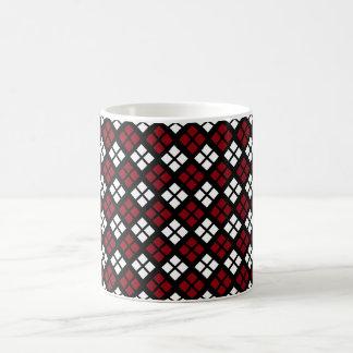 Taza De Café Modelo rojo y blanco elegante de Argyle en negro