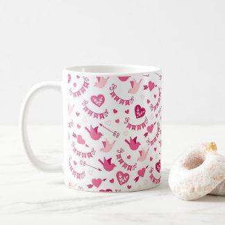 Taza De Café Modelo rosado de las flechas de los pájaros de los