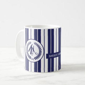 Taza De Café Moderno rayado blanco de la marina de guerra del
