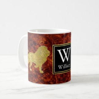 Taza De Café Monograma de Burlwood de los leones