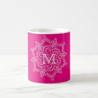 Taza De Café Monograma elegante de la mandala de las rosas