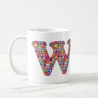 Taza De Café Monograma llenado corazón dinámico colorido de la
