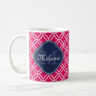Taza De Café Monograma marroquí blanco rosado de la marina de