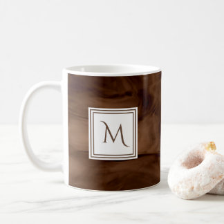Taza De Café Monograma moderno de mármol sutil oscuro simple de