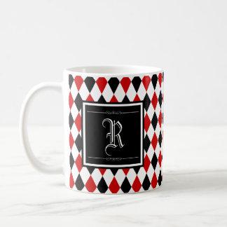 Taza De Café Monograma rojo y negro del modelo del diamante del