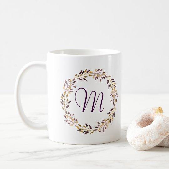 Taza De Café Monograma rústico de la guirnalda de la acuarela