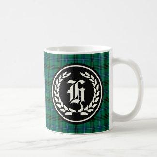Taza De Café Monograma verde y azul del clan de Henderson del