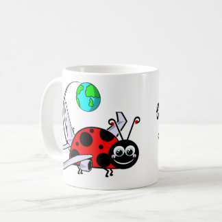 Taza De Café Mordido por el insecto del viaje - aeroplano de la