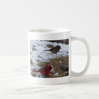 Taza De Café Mr.&Mrs. Alimentación cardinal en la tierra