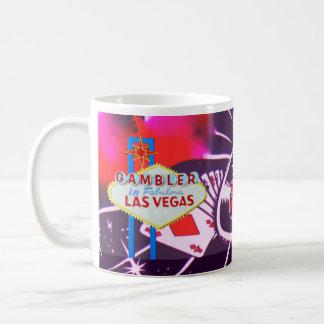 Taza De Café Muestra de Las Vegas con los dados y la ruleta del