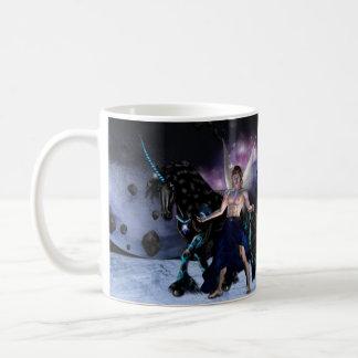 Taza De Café Mug blanco - Orion hada brujo y su unicornio
