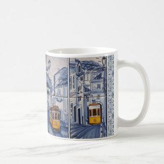 Taza De Café mug decoración Lisboa Azulejos tranvía