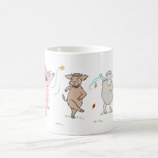 Taza De Café Mug vegan, cerdo, vaca y oveja que baila