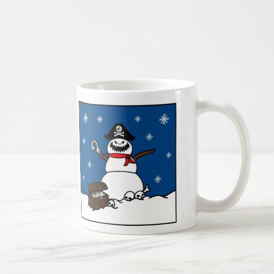 Taza De Café Muñeco de nieve del pirata del invierno del